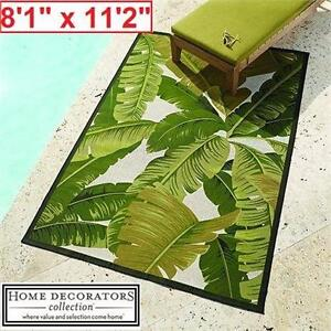"""NEW*HDC PINDO 8'1"""" x 11'2"""" AREA RUG HOME DECORATORS- IVORY/GREEN - RUGS DECOR INDOOR OUTDOOR CARPET CARPETS  83214054"""