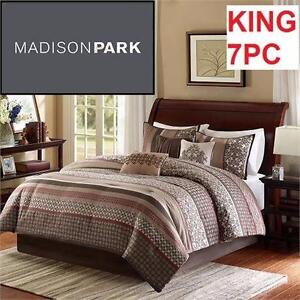 NEW MP 7PC COMFORTER SET KING   MADISON PARK BEDDING SET HOME BEDROOM BLANKET 98196882
