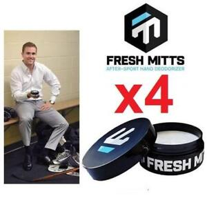 4 NEW FRESH MITTS HAND DEODORIZER 194546204 HOCKEY GLOVES 90ML APPROXIMATELY 75 GAMES PRACTICES IN ONE JAR