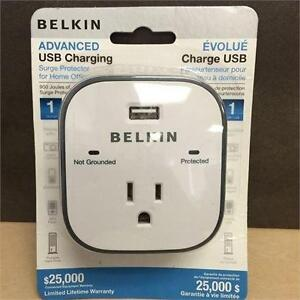 NEW, Belkin Surge Protector With USB Charger 1 Outlets 1 USB Charging Ports 900J