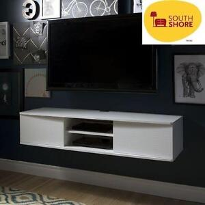 NEW* SS WALL MOUNTED MEDIA CONSOLE SOUTH SHORE - WHITE - 56'' - AGORA COLLECTION 101059170