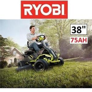 "NEW RYOBI RIDING LAWNMOWER RY48110 201468307 38"" 75AH ELECTRIC  BATTERY REAR ENGINE LAWN MOWER"