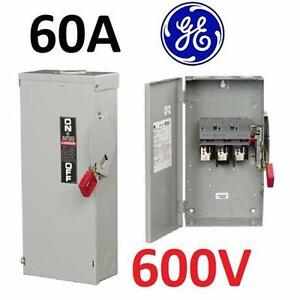 NEW GE 60AMP 3R SAFETY SWITCH   Heavy Duty Stainless Steel Nema 3R Non-Fusible Switch; 60 Amp, 3 Pole, 600V 96920792