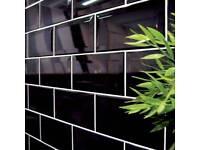 black ceramic tiles