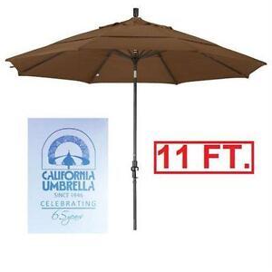 NEW* CU 11' FT. PATIO UMBRELLA CALIFORNIA UMBRELLA - BRONZE POLE CORK COLOUR ON FABRIC COLLAR TILT CRANK LIFT