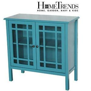 NEW* HOMETRENDS ACCENT TABLE CONSOLE TABLE - Tempered Glass Door Accent Cabinet        79427117