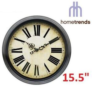 NEW HOMETRENDS ESPRESSO WALL CLOCK 50811 256772717 ROMAN NUMERAL 15.5 x 1.97 x 15.5 BATTERY NOT INCLUDED