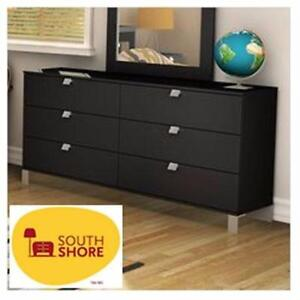 NEW* SOUTH SHORE 6-DRAWER DRESSER HOME Bedroom Furniture Chest Drawers - BLACK  85177364