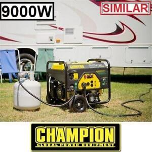 RFB CHAMPION 439CC GAS GENERATOR 100155 167287348 DUAL FUEL GASOLINE PROPANE 9000W 7000W ELECTRIC START REFURBISHED