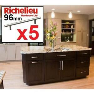 NEW 5CT RICHELIEU HARDWARE PULLS D5P30596195 202285698 Contemporary Metal Brushed Nickel 96 mm C To C CABINET DRAWER ...