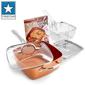 "NEW TRISTAR 4PC COPPER CHEF PAN 9.5"" - 4.5QT COOKWARE KITCHEN POTS COOKING"