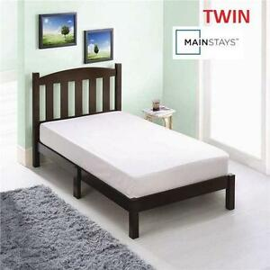 "NEW* MAINSTAYS TWIN WOOD BED ESPRESSO FINISH - 42""H x 78-3/4""W x 41-3/4""D - Mattress not included 101063871"