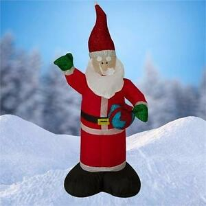 NEW, 4 FT Airblown Inflatable Glitter Santa with Inside Lights 214S1