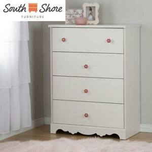 NEW* SOUTH SHORE 4 DRAWER CHEST 10807 236884196 LILY ROSE WHITE WASH