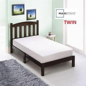 """NEW MAINSTAYS TWIN WOOD BED - 110307134 - ESPRESSO FINISH - 42""""H x 78-3/4""""W x 41-3/4""""D - Mattress not included"""