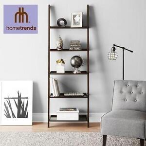 NEW 5-TIER SOLID WOOD BOOKCASE SOLID WOOD ESPRESSO LEANING BOOKCASE HOMETRENDS 105881075