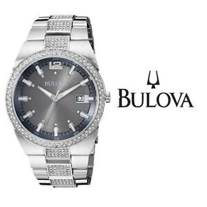 NEW MEN'S BULOVA WATCH 96B221 214633642 JEWELLERY JEWELRY STAINLESS STEEL CRYSTAL ANALOG QUARTZ