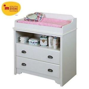 NEW SOUTH SHORE CHANGING TABLE - 122098459 - FUNDY TIDE - WHITE - FURNITURE - BABY - FURNITURE - CHANGING TABLES
