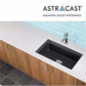 "NEW ASTRACAST 33"" KITCHEN SINK Dual Mount Granite 33 in. 1-Hole Large Single Bowl Kitchen Sink Metallic - Black 83485752"