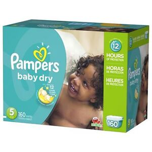 57 couches #5 pampers baby dry pour 8$