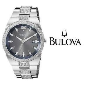 USED MENS BULOVA WATCH 96B221 246220759 JEWELLERY JEWELRY STAINLESS STEEL CRYSTAL ANALOG QUARTZ