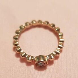 Ridged Golden Ring with Jewel