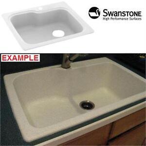 "NEW SWANSTONE KITCHEN SINK 33X22"" - WHITE - SINGLE BOWL - KITCHEN BATHROOM FIXTURES HOME IMPROVEMENT"