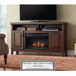 """NEW HDC 61"""" FIREPLACE MEDIA CONSOLE HOME DECORATORS BROWN RIVET DETAILS - ELECTRIC FIREPLACES FIREBOX MANTLE 84016212"""