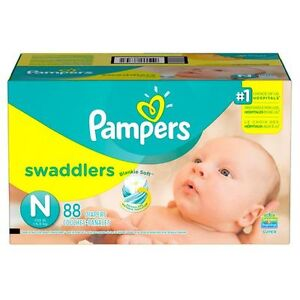Pampers Swaddlers diapers NB two bags of  60 diapers 120 diapers