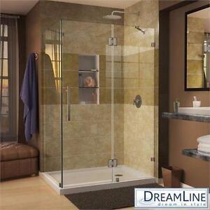 "NEW DREAMLINE FRAMELESS SHOWER KIT QUATRALUX-46 5/16"" x 34 5/16"" x 72"" SHOWER ENCLOSURE CORNER HOME IMPROVEMENT 82845852"