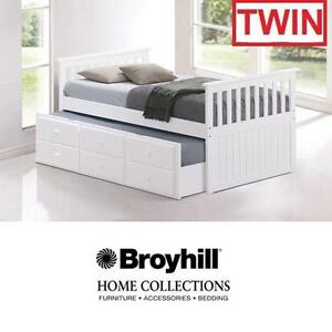 NEW BROYHILL WHITE MARCO ISLAND BED TWIN SIZE WITH TRUNDLE BED DRAWER DRAWERS FURNITURE KIDS ROOM BEDROOM BEDS KID