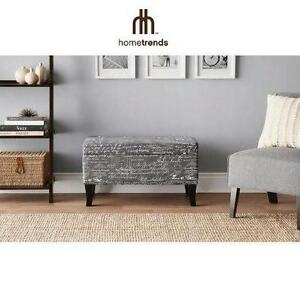 "NEW HT PRINTED STORAGE 32"" OTTOMAN HOMETRENDS - HOME TRENDS - FURNITURE - HOME DECOR - BENCH 109274478"