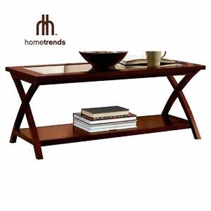 NEW HT GLASS TOP COFFEE TABLE   HOMETRENDS CHERRY - GLASS TOP COFFEE TABLE  84629164