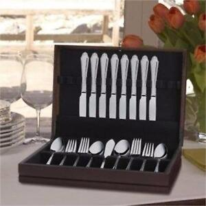 NEW,Royal Bead 53 Pc Flatware Set/8 Settings w/ Wooden Chest in a Walnut Finish