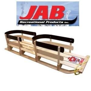 NEW JAB WOODEN TWIN BABY SLED BH-215B 212716401 ST. NICK PRANCER SLEIGH SLED