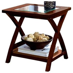 HomeTrends Glass Top End Table