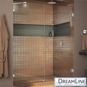 "NEW DREAMLINE 60""x72"" SHOWER DOORS UNIDOORLUX FRAMELESS HINGED CHROME SHOWER DOOR SYSTEM BATHROOM ENCLOSURE 91658143"