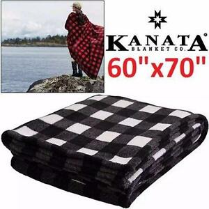 "NEW KANATA CABIN THROW 60""x70""   BLANKETS - Buffalo Check Black/White - DESIGNED IN CANADA - 100% POLYESTER   84736744"