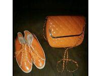 Women's orange Gola trainers size 6 and handbag