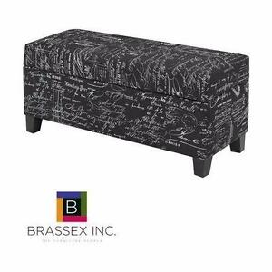 """NEW BRASSEX STORAGE OTTOMAN BLACK PRINTED FABRIC UPHOLSTERY 35 x 14.5 x 14"""" HOME FURNITURE DECOR LIVING ROOM  92390504"""