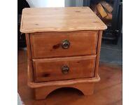 1 Pine Bedside cabinet, 2 draw.