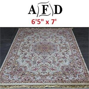 """NEW AFD IVORY ORIENTAL RUG - 124100273 - ART FRAME DIRECT POWER LOOM MADE 6'5""""x7'"""