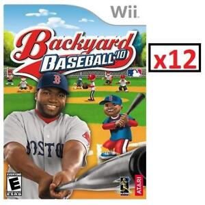 NEW 12 WII BACKYARD BASEBALL '10 225568748 NINTENDO WII VIDEO GAME STANDARD EDITION 1 CASE OF 12 GAMES TOTAL