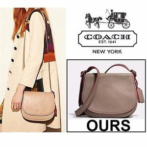 NEW COACH 1941 SADDLE BAG 23 PURSE   FOG WOMEN LADIES PURSE BAG SATCHEL GLOVETANNED LEATHER FLAP CLOSURE 99569135