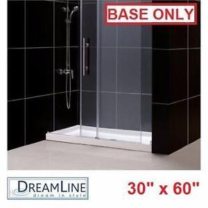 "NEW DREAMLINE 30"" x 60"" SHOWER BASE   SINGLE THRESHOLD CENTER DRAIN WHITE -BASES PAN PANS BATH BATHROOM BASE 91941684"