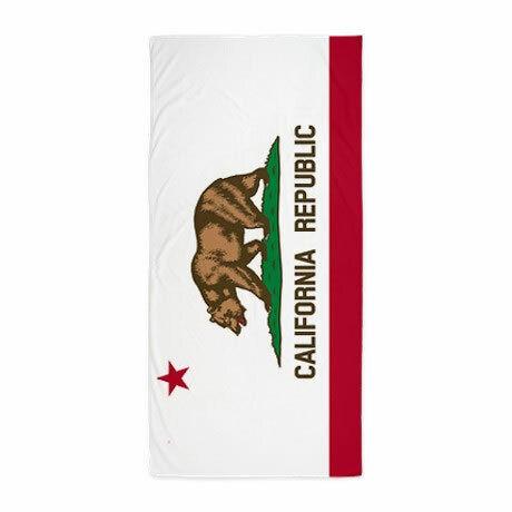 California Flag 100% Cotton Beach Towel 30 x 60 inch - White California Beach