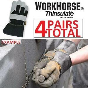 NEW 4PK WORKHORSE WORK GLOVES 710AT6CCQ 221267611 LARGE THINSULATE COW HIDE FLEECE/FOAM LINER BUNDLE OF 4  PAIRS OF G...