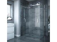 Shower Enclosure - Victorian Plumbing Nova Frameless 800 x 1200 x 1950mm 8mm Sliding Door & Panel