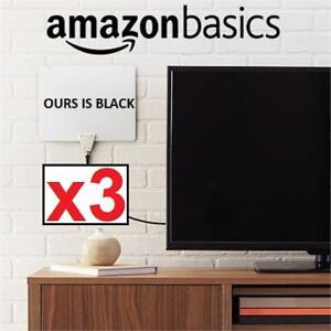 3 NEW AMAZONBASICS HDTV ANTENNA MH-110752 215084083 ULTRA THIN INDOOR 30 MILE RANGE BLACK