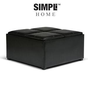 NEW SH COFFEE TABLE OTTOMAN STORAGE SIMPLI HOME AVALON COFFEE TABLE STORAGE OTTOMAN 4 SERVING TRAYS - BLACK 103045945